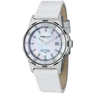 Momo Design Womens Pilot Lady Mother of Pearl Dial Strap Watch