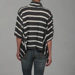 Romeo & Juliet Womens Charcoal Grey/ Ivory Stripe Cowl Neck Top