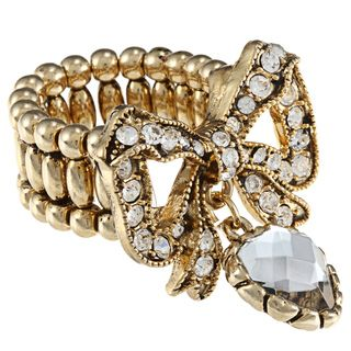 Betsey Johnson Goldtone Crystal Bow Heart Drop Ring