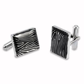 Stainless Steel Black Resin Zebra Print Cuff Links