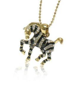Black Gold Crystal Zebra Pendant Necklace Fashion Jewelry
