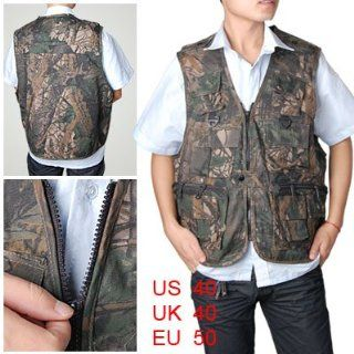 Como Man Branch Pattern Zipper Front Pockets Fishing Vest