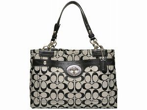 Coach Signature Penelope Turnlock Carryall Bag Purse Tote