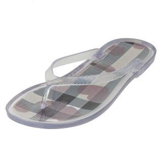Burberry Womens Clear Logo Flip Flops