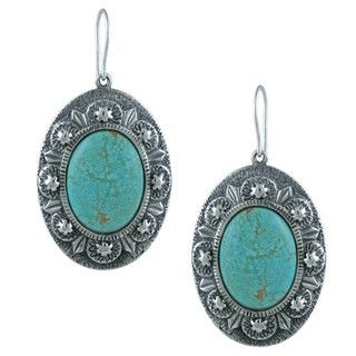 Southwest Moon Sterling Silver Gleeson Turquoise Oval Earrings