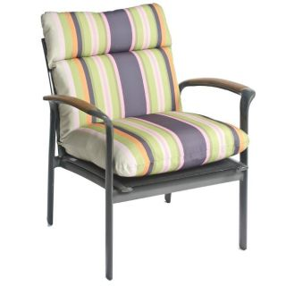 Gosi Stripe All weather Outdoor Dark Grey Chair Cushion