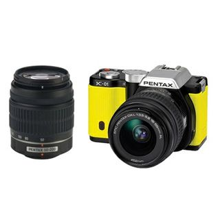 Pentax K01 16MP Yellow Digital SLR Camera with 18 55 50 200 Lens