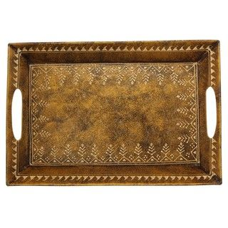Wrought Iron Hand painted and Embossed Decorative Tray (India