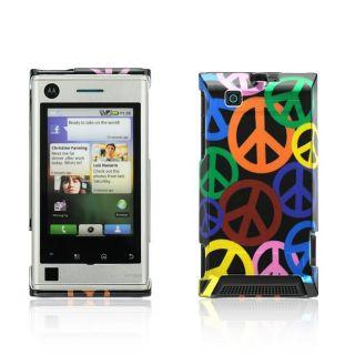 Premium Motorola Devour A555 Black Rainbow Peace Sign Protector Case