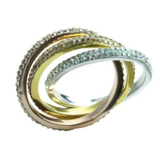 Sterling Silver White and Gold Crystal Intertwined Ring