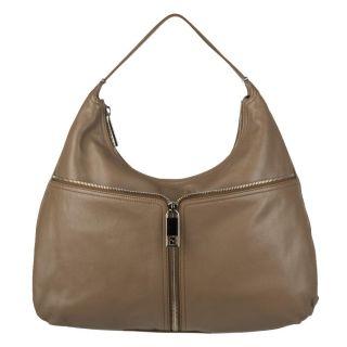 Fendi Taupe Leather Front zip Hobo