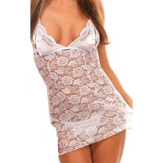 Bang White Peek a Boo Satin and Lace Chemise with Panty