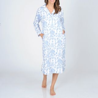 La Cera Womens Blue Floral Print Flannel Nightgown