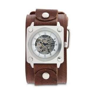 Nemesis Mens Brown SQ Mechanical Wide Leather Band Watch