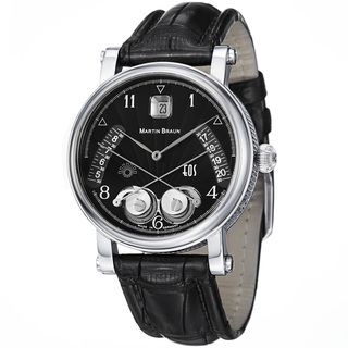 Martin Braun Mens EOS 39 Black Dial Black Leather Strap Watch