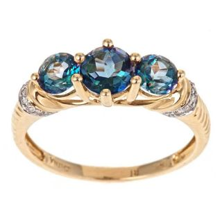 Yach 14k Yellow Gold London Blue Topaz and 1/10ct TDW Diamond Ring