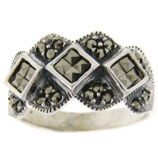 Sterling Silver Marcasite Diamond Design Ring