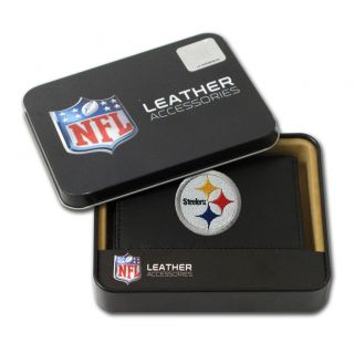 Pittsburgh Steelers Mens Black Leather Tri fold Wallet