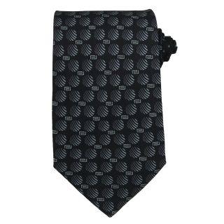 Versace Mens Greek Key And Striped Circle Silk Tie