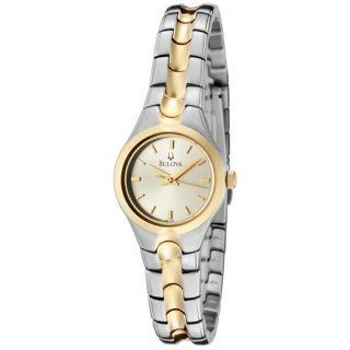 Bulova Womens Champagne Sunray Dial Two tone Watch