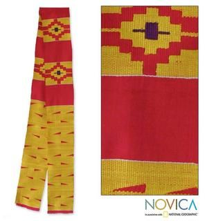 Handcrafted Cotton Blend Koforidua Flower Kente Cloth Scarf (Ghana