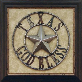 Antonio Iron God Bless Texas Framed Metal Wall Art