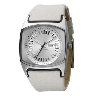 Diesel Womens White White Leather Strap Watch