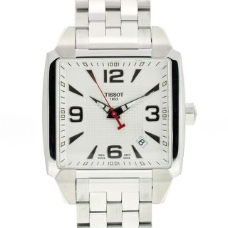Tissot Mens T Trend Quadrato Stainless Steel Silver Dial Watch
