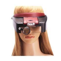 Loupe Magnifier Lens Visor 10X Black/ Red 2 light Magnifying Glass