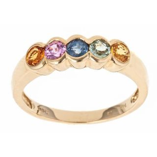 Yach 14k Yellow Gold Multi color Sapphire 5 stone Fashion Ring