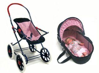 Toy English Baby Stroller & Removeable Carriage & Doll