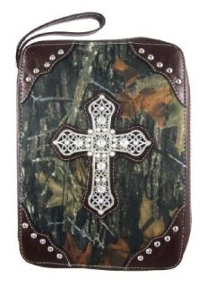 Camo Print Bible Cover Rhinestone Cross Brown Trim