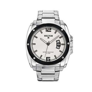 Hector H France Mens Classic White Dial Stainless Steel Strap Date