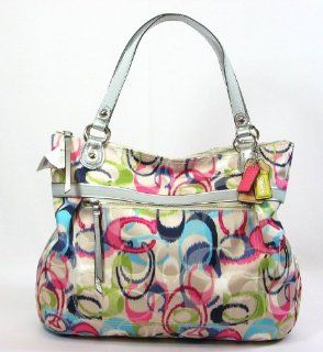 Coach Poppy Ikat Glamour Signature Zip Tote Bag 19876