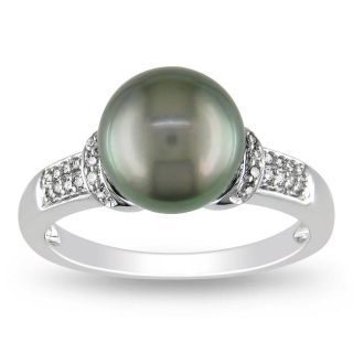 14k White Gold Tahitian Black Pearl and 1/10ct TDW Diamond Ring (G H