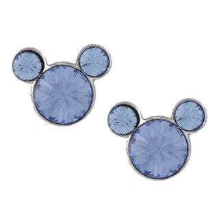 Disneys Mickey Mouse Sterling Silver Light Blue Crystal Earrings