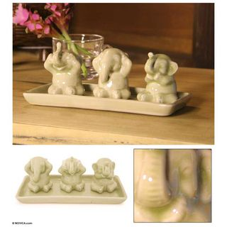 Set of 3 Celadon Ceramic Elephant Life Lessons Figurines (Thailand