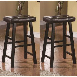 Saddle Black Brown 29 inch Bicast Leather Bar Stools Height (Set of 2