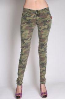 Tripp NYC Mini Camo Green Heavy Wash Womens Skinny Jeans