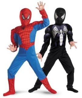 Reversible Spider Man Red to Black Muscle Kids Costume