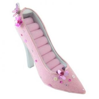 Pink Shoe Ring Holder, High Heel Pump Style, Sequined