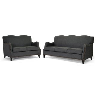 Penzance Dark Grey Linen Sofa and Loveseat Set