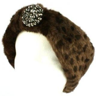 Winter Faux Animal Fur Removable Rhinestone Brooch Ski