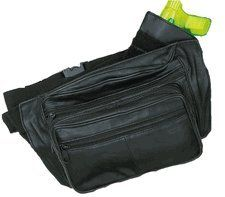 Leather Fanny Pack Belt Waist Bag with Gun Pouch ~ Black