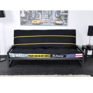 194 x 81 x 85 cm. Banquette clic clac   Coloris noir imprimé jaune
