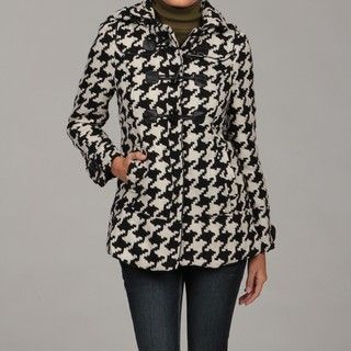 Last Kiss Womens Black/ White Houndstooth Coat FINAL SALE