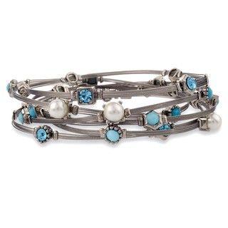 Silvertone Blue Multi stone Wire Bracelet Set