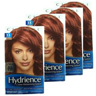 Clairol Hydrience #33 Russet Glow, Dark Auburn Hair Color (Pack of 4