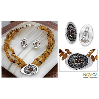 Sterling Silver Honey Sea Amber Jewelry Set (Mexico)
