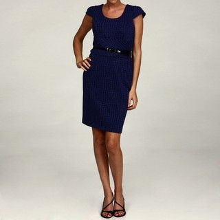 Sandra Darren Womens Sapphire/ Black Belted Dress